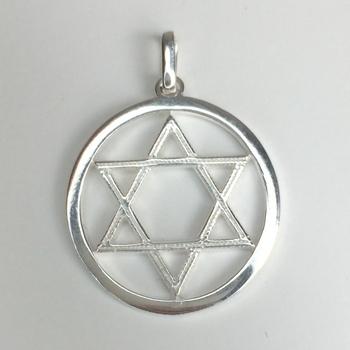 imagem Pingente Religioso Estrela de David vazada em Prata 925.