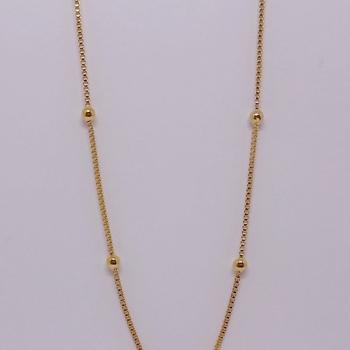 imagem Corrente Veneziana de 45cm com Bolinas Banhada a Ouro 18k.