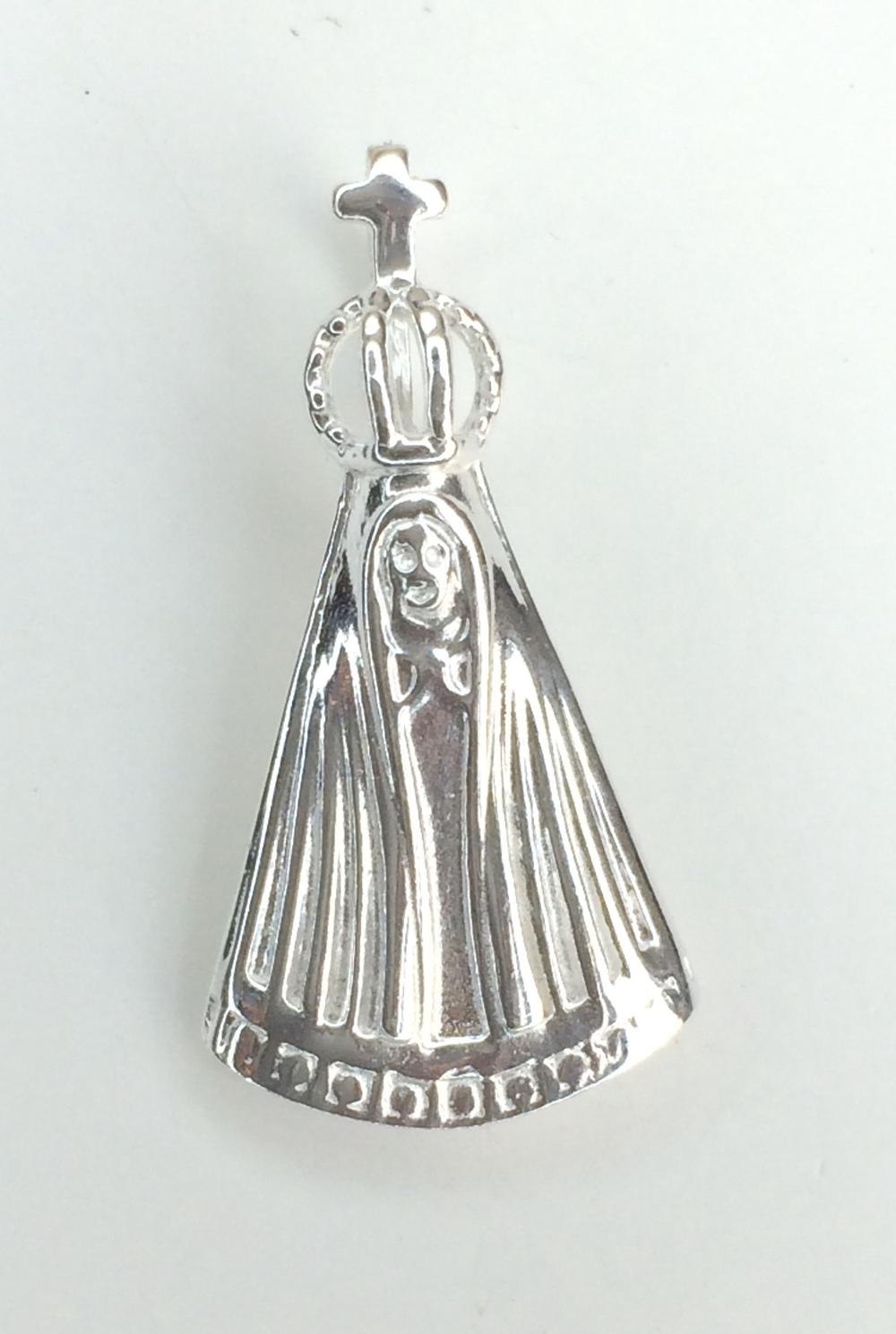 imagem Pingente Religioso de Nossa Senhora em Prata 925.