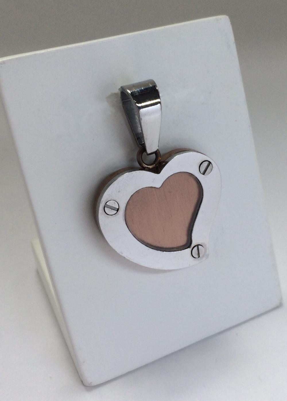 imagem Pingente de Coração em Aço Cirúrgico com Banho Rose