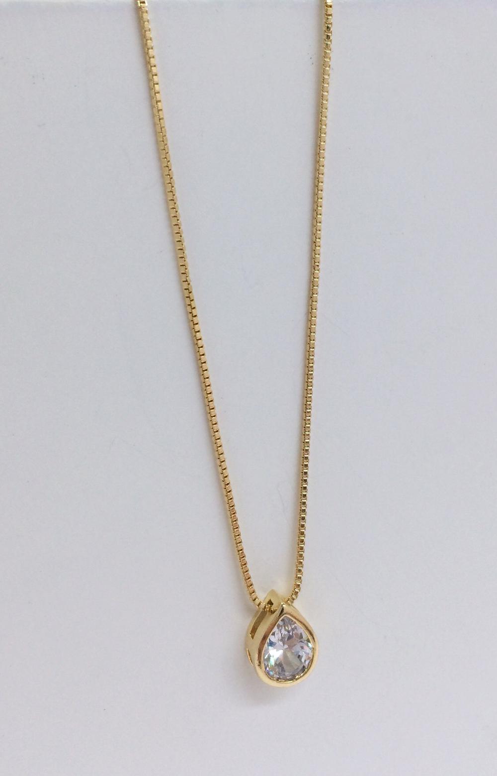 imagem Corrente Veneziana de 40cm Banhada a Ouro 18k com Ponto de Luz de Zircônia.