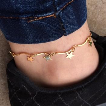 imagem Tornozeleira de Estrelas Banhada a Ouro 18k.